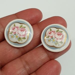Vintage Floral Shabby Chic Button Style Earrings